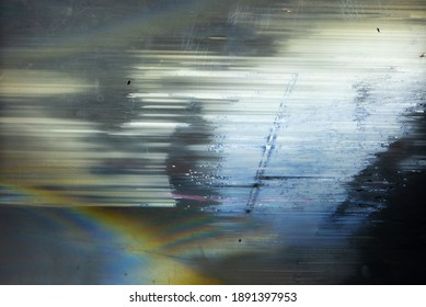 Blurred rainbow light refraction on dark background,Prism Rainbow Light Flares