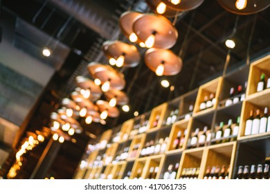 Blurred restaurant with abstract bokeh light and background