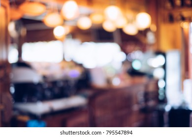 Blurred scene bar coffee decorative lighting warmth in cafe