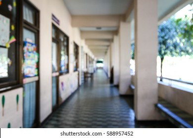blurred school corridor