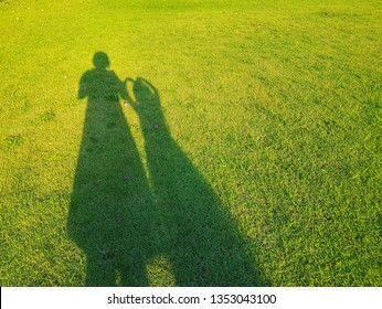 The blurred shadow of mom and little daughter on green grass. And on the lawn have flowers fall down.