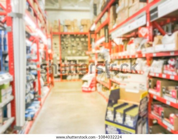 Blurred Shelves Electrical Supplies Hardware Store Stock ... on
