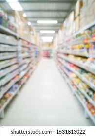 Blurred shelves in supermarket. View of aisle row of product. Business blur background.