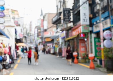 Blurred shopping street, the famous shopping area around Womans University for female teenage in Seoul, South Korea