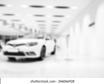 blurred showroom car in black and white : for background use