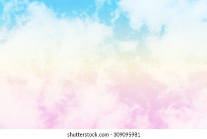 blurred of sky and cloud in the vintage retro pastel tone.for backgrounds.