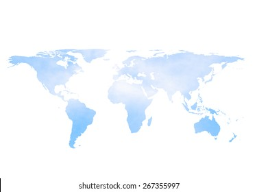 blurred sky and clouds world map isolated on white background.