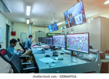 Blurred and Soft focus of Control room.Engineering control room checking process in coal power plant,Control room operator.