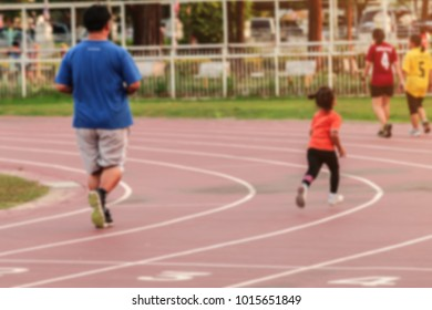 Blurred and Soft focus  People running on the track,Healthy lifestyle concept.