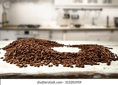 blurred space of kitchen and coffee beans