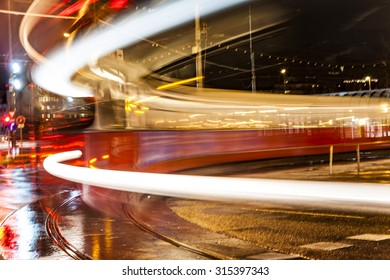 blurred street car in the old part of vienna