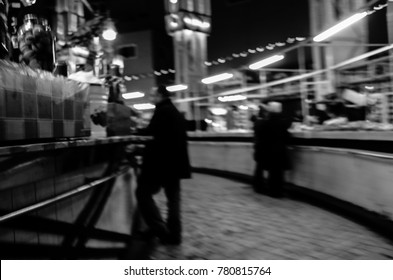 blurred street market black and white view