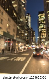 Blurred street view at night in New York