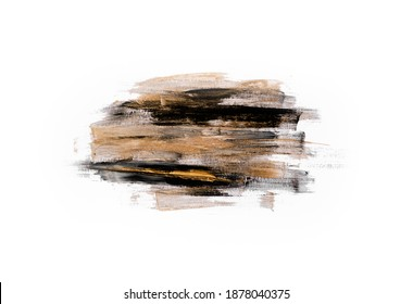Blurred Strokes of paint with  gold. Stylish  neutral nude feminine background. Copyspace horizontal chick mock up.