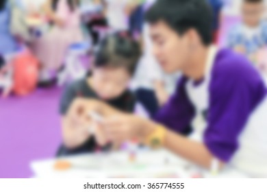 blurred of student activities in children day