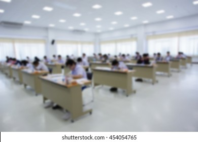 Blurred of the student take exam.