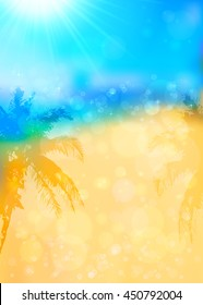 Blurred summer tropical background with palms silhouettes