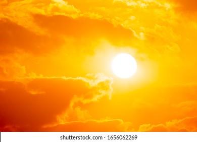 Blurred sunset on golden cloud background on sky summer season