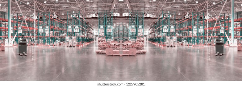Blurred and toned wide panoramic collage of typical storage, production, industrial warehouse interior. Selective focus. Copy space. Horizontal banner.