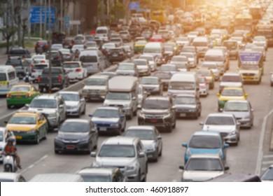 blurred traffic jam with sunlight on  street in bangkok , Motion blur,thailand