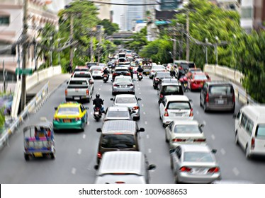 Blurred traffic jam Zoom blur effect.