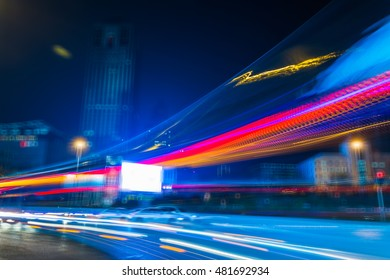 blurred traffic lights on road