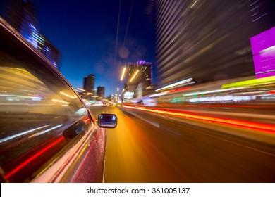 blurred urban look of the car movement nights longexposure