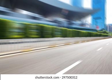 Blurred urban road in modern city