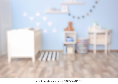 Blurred view of beautiful children room