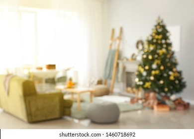 Blurred view of beautiful living room decorated for Christmas