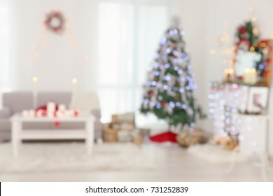 Blurred view of beautiful room with Christmas decorations