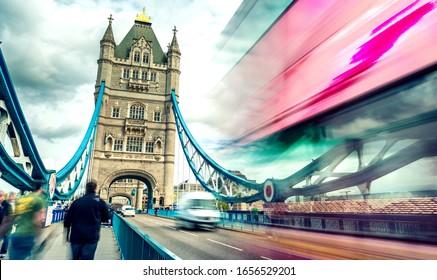 Blurred view of bus crossing Tower Bridge, London - UK.