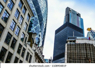 Blurred view of City of London center against the background of modern skyscrapers of the financial district