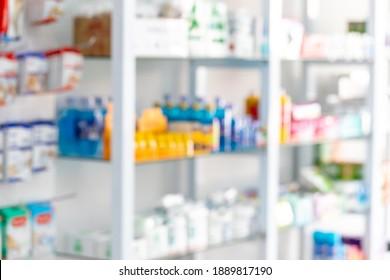 Blurred view of drug medical shop drugstore medication blank medicine pharmaceutics concept modern drugstore