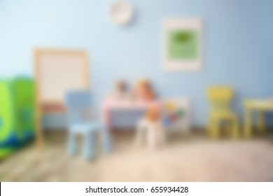 Blurred view of empty playroom
