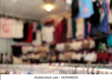 Blurred view of female underwear in store