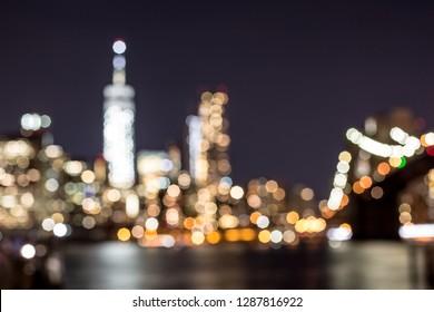 Blurred view of midtown Manhattan at night