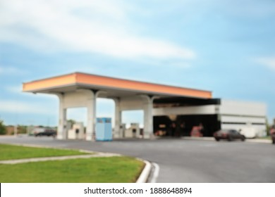 Blurred view of modern gas station outdoors