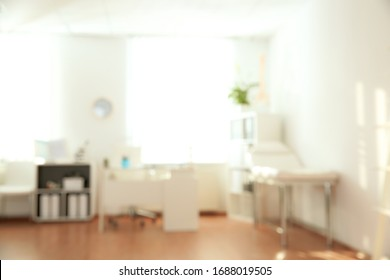 Blurred view of modern medical office. Doctor's workplace