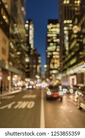 Blurred view on 6th avenue at night