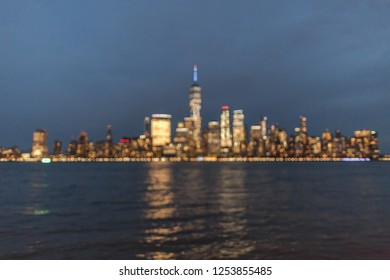 Blurred view on financial district at night