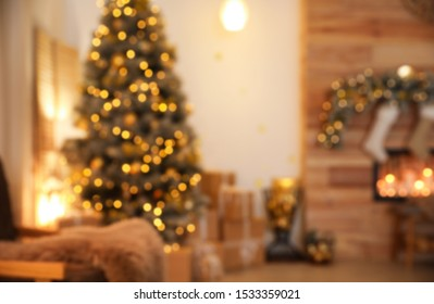 Blurred view of stylish Christmas room interior