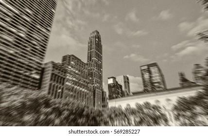 Blurred view of wonderful Manhattan night skyline on a beautiful summer evening.