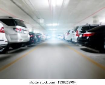 Blurred Walk way in car parking lot.