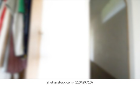Blurred Wardrobe Room with Modern House Interior Bokeh Background