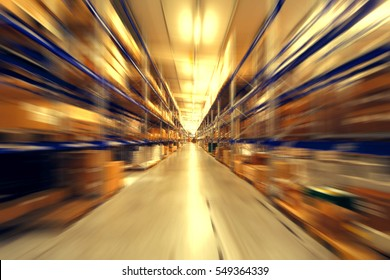 Blurred warehouse interior
