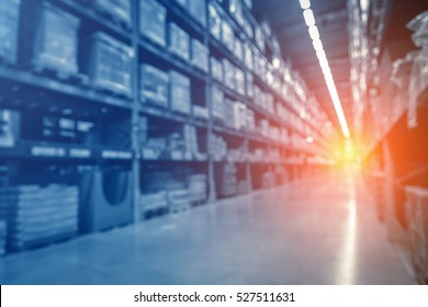 Blurred warehouse or storehouse as background