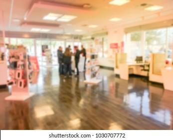 Blurred wireless provider retail store in America