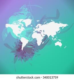 Blurred World Map background. Raster version.