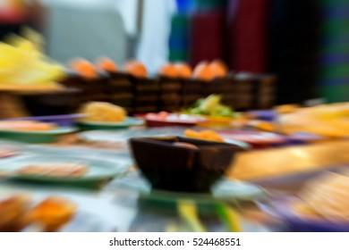 Blurred zoom of  Japan restaurant sushi conveyor or belt buffet